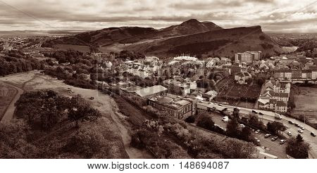 Edinburgh city skyline panorama viewed from Calton Hill. United Kingdom.