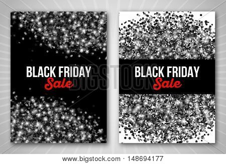 Black Friday Sale Poster Set with Confetti Salute. Vector illustration. Place for Your Text