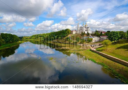 Beautiful view of Holy Assumption Cathedral on Uspenskaya mountain above Western Dvina Vitebsk Belarus