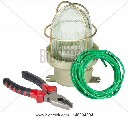 Electric equipment for apartment repair on a white background