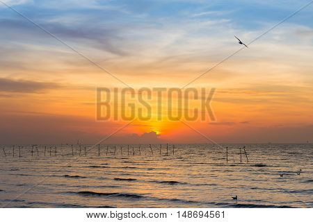 Sunset sky over the seacoast, natural landscape background