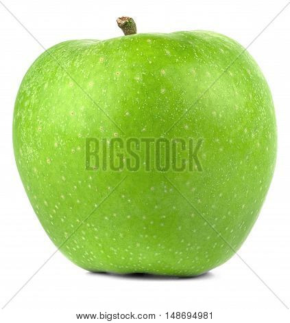 Fresh green apple with shadow on white background