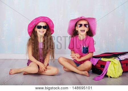Happy sisters gathered on vacation. The concept of travel and lifestyle.