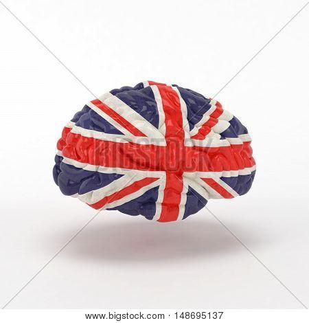 England Flag on Human brain. 3D illustration.