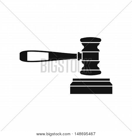 Judge gavel icon in flat style icon in simple style on a white background vector illustration
