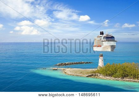 Luxury cruise ship passes a lighthouse on it's way to port