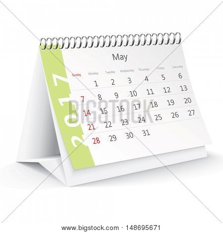 May 2017 desk calendar - vector illustration