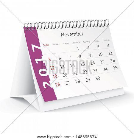 November 2017 desk calendar - vector illustration