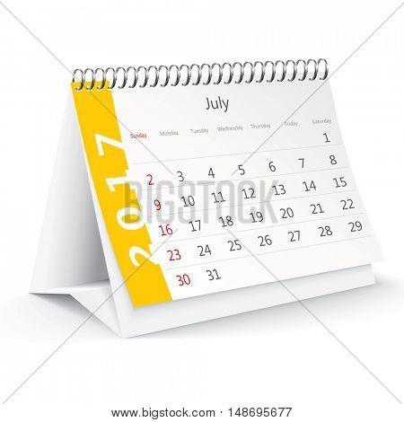 July 2017 desk calendar - vector illustration