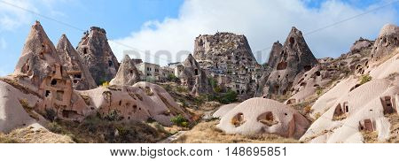 Uchisar Castle And Unique Geological Formations In Cappadocia, Turkey