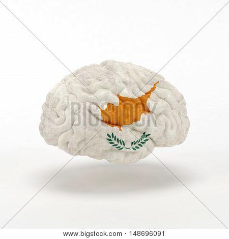 Cyprus Flag on Human brain. 3D illustration.