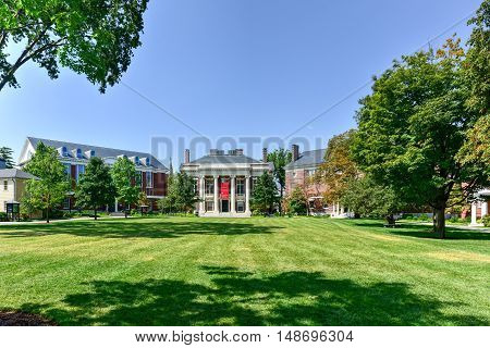 Boston, Massachusetts - September 5, 2016: Harvard College Admissions Visitor Center in Boston Massachusetts.