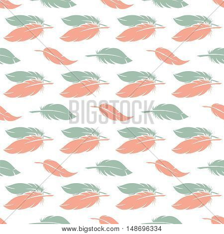 Pink and blue feather seamless pattern. Pajamas and linens design vector illustration