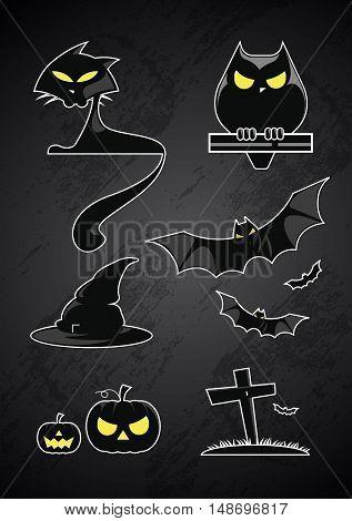 vector illustration of Halloween set symbols pumpkin bat black cat owl witch hat silhouetteblack glossy element