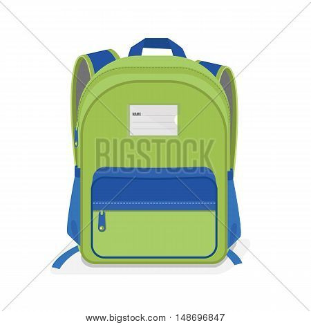 vector illustration of Green and Blue school Bag Backpack isolated on white background