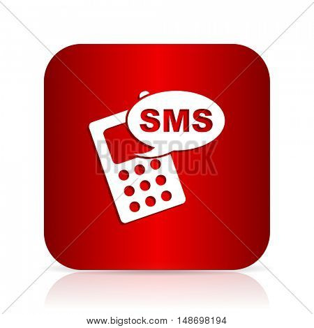 sms red square modern design icon
