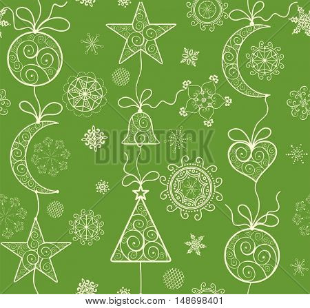 Ornate green background with golden lacy hanging baubles for winter holiday