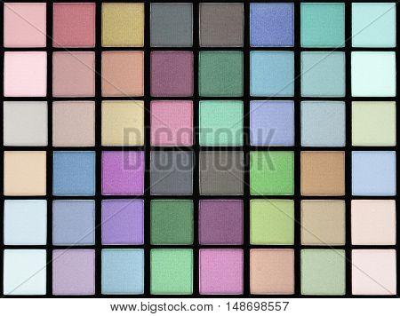 Colorful makeup background. Makeup palette close up