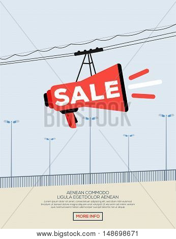 Poster of sale. Speaker funicular. Vector illustration