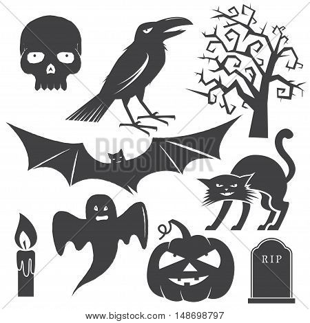 Halloween vintage icon, emblem or label. Vector illustration. Halloween set include cat, pumpkin, bat, crow, skull, tree, candle, ghost and grave.