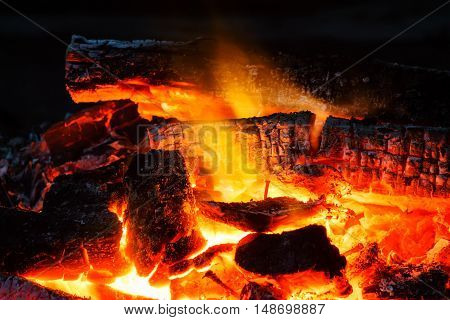 Wood Charcoal On Fire