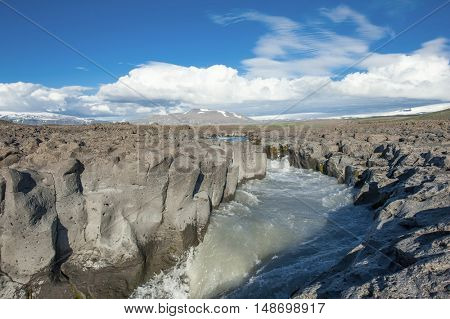 Icelandic river in a volcanic area of an old magma field