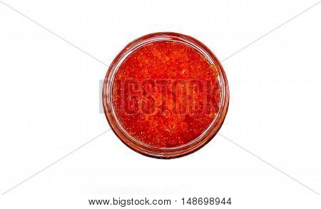 Caviar red in a glass jar isolated on white background
