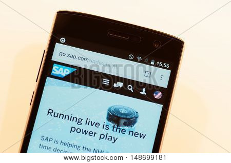 SARANSK, RUSSIA - SEPTEMBER 24, 2016: A smartphone screen shows details of SAP SE main page on its web site.