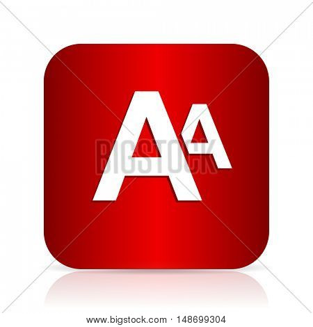 alphabet red square modern design icon