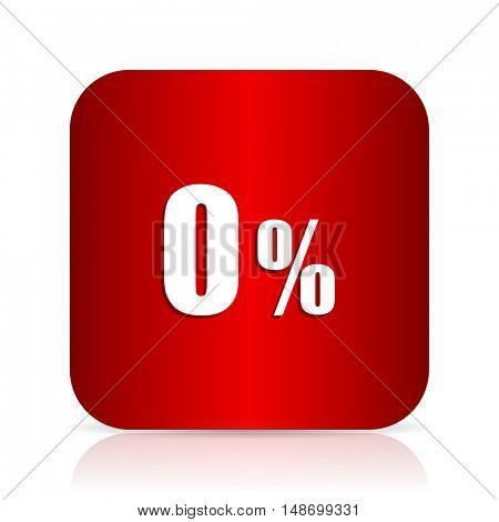0 percent red square modern design icon