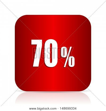 70 percent red square modern design icon