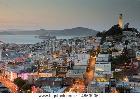 San Francisco in Blue and Gold. Dusk over San Francisco Telegraph Hill and North Beach.