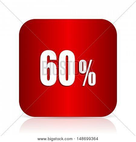 60 percent red square modern design icon