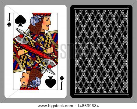 Jack of Spades playing card and the backside background. Colorful original design