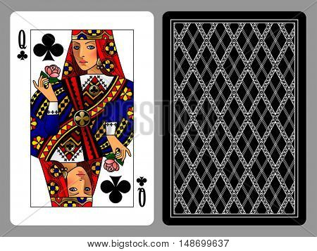 Queen of Clubs playing card and the backside background. Colorful original design