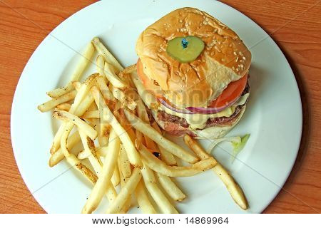 Fancy cheeseburger with french fries served on white plate in restaurant