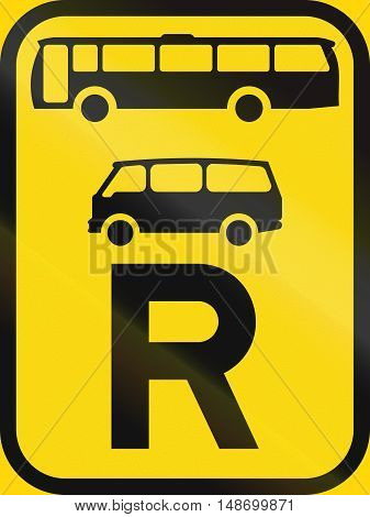 Temporary Road Sign Used In The African Country Of Botswana - Reservation For Buses And Mini-buses