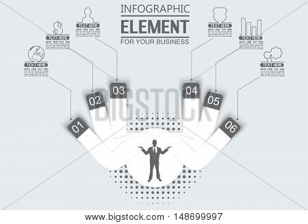 ELEMENT FOR INFOGRAPHIC TEMPLATE GEOMETRIC FIGURE CIRCLE THIRD EDITION BLACK