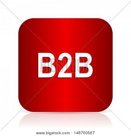 b2b red square modern design icon