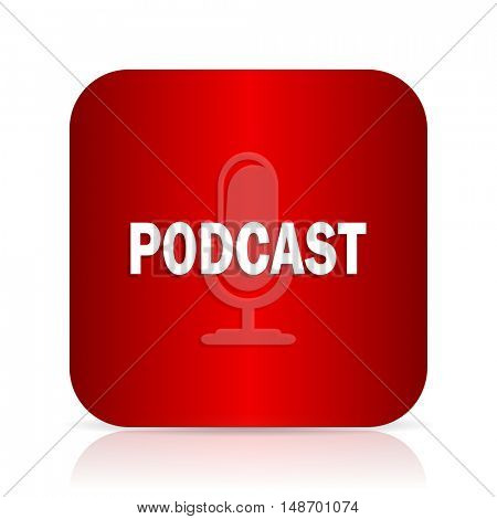 podcast red square modern design icon