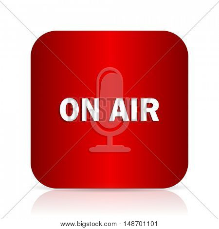on air red square modern design icon