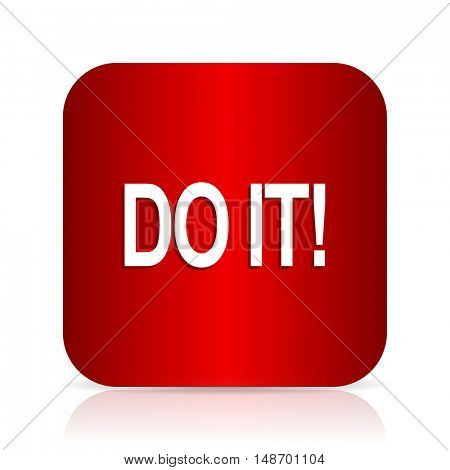 do it red square modern design icon