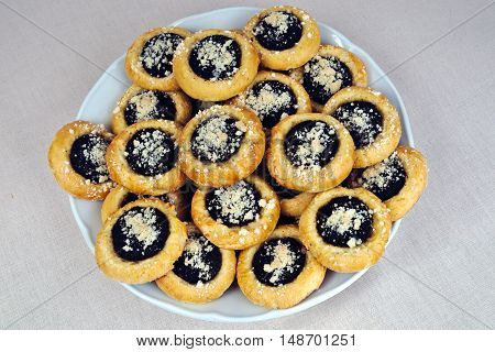 Homemade cakes with poppy seeds on a plate