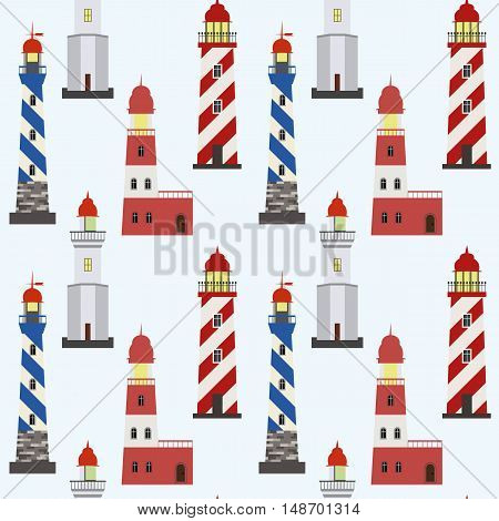 Seamless marine pattern with red white and blue lighthouses on light background.