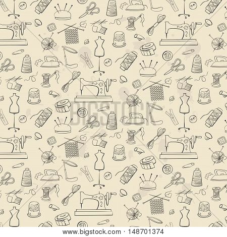 Pattern of knitting sewing and needlework icons on the light background.