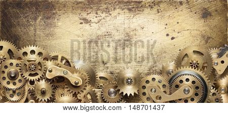 Mechanical collage made of clockwork gears