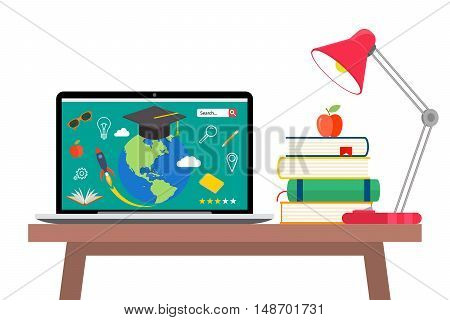 Online education concept. Laptop with opened text document next to stacked books, mortar board student cap, pencils and glasses. Flat style vector illustration isolated on cyan background.