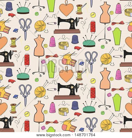 Seamless pattern of knitting sewing and needlework colorful icons on the light background.