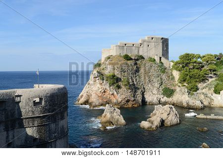 Fort Lovrijenac (Fort of St. Lawrence) is located at the western side of the Old Town outside the city walls on a 37 meters high cliff. Dubrovnik Croatia.