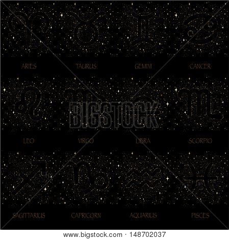 Starry sky zodiac signs and their names with colorful stars on a black background.
